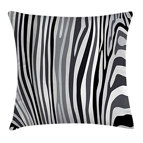 - Zebra Print Throw Pillow Cushion Cover, Zebra Pattern Vertical Striped Design Nature Wildlife Inspired Illustration, Decorative Square Accent Pillow Case, 18 X 18 Inches, Grey White
