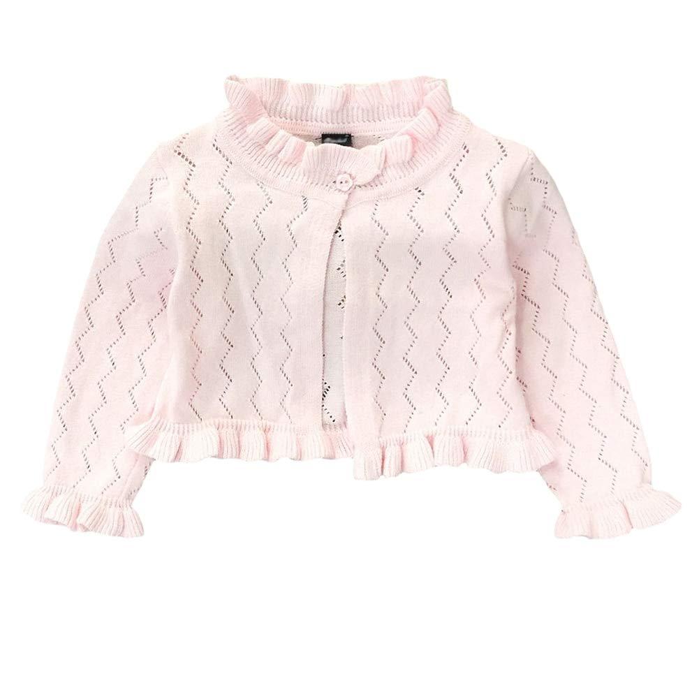 Achiyi Baby Infant Toddler Girls Princess Long Sleeve Open Front Bolero Shrug Kids Basic Jacket Cardigan Sweater Top