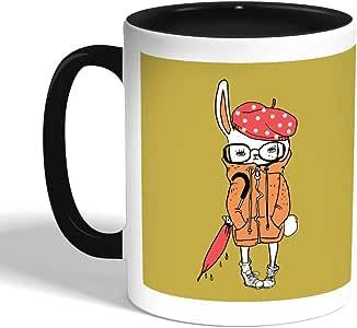 كوب سيراميك للقهوة بتصميم رسم كرتوني - ارنب، اسود