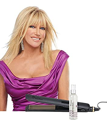Suzanne Somers' Hair Straightener & Anti-Frizz Treatment: Professional True Brazillian Oscillating Flat Iron & Activating Serum Set
