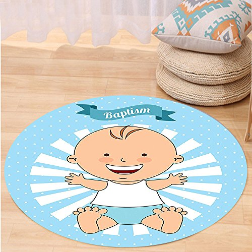 VROSELV Custom carpetBaptism Decorations Baptism Design Happy Boy Christening Striped Dotted Background Christian Religion Theme Bedroom Living Room Dorm Decor Round 72 inches by VROSELV