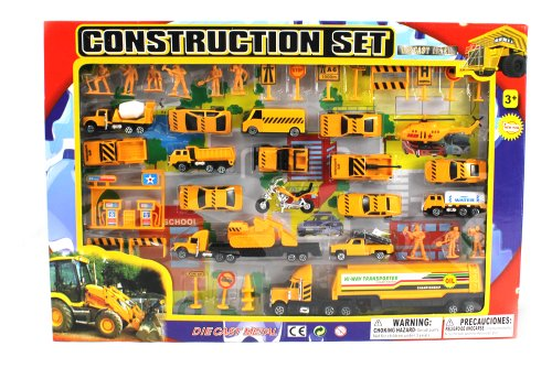 Metro Complete Construction Crew 43 Piece Mini Toy Diecast Vehicle Play Set, Comes with Street Play Mat, Variety of Vehicles and (Construction Toys)