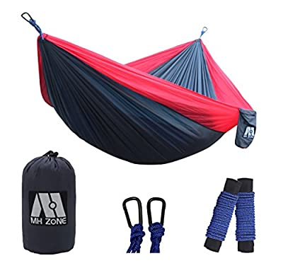 "MH Zone Camping Hammock, Best Lightweight Double Portable Nylon Parachute Backpacking Hammock with Hammock Tree Straps for Travel, Beach or Camping. 118""(L) x 78""(W)"