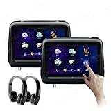 XTRONS 10.1 Inch HD Digital Touch Screen Leather Cover Single Car Headrest DVD Player 1080P Video with HDMI Port New Version Black IR Headphones