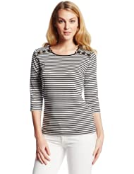 (好价)美国Anne Klein 女士秋冬款毛衣 Women's Stripe Sweater 仅售:$21.18