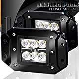 Flood 3X3 4.5In Flush Mount Pods Cube Reverse Backup Headlight Lower Auxiliary Fog Lights Bumper Grill Offroad Work Lights For Chevy Colorado Silverado XJ JK CJ TJ Massey Ferguson Nissan Titan Toyota