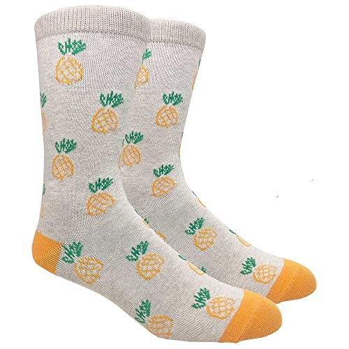 - Urban Peacock Men's Fashion Dress Socks (Various Patterns Available!) (Pineapples - Beige with Orange, 1 Pair)