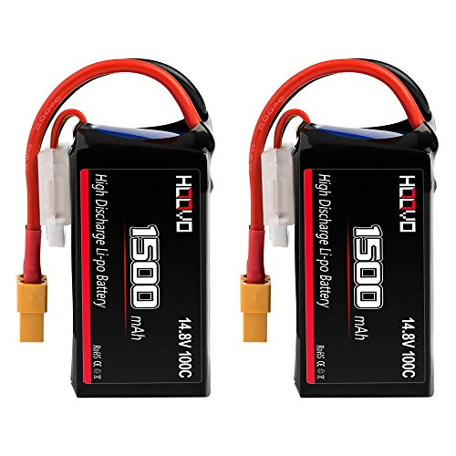 HOOVO 4S 14.8V 1500mAh 100C RC LiPo Battery with XT60 Connector for FPV UAV Drone RC Quadcopter Helicopter Airplane Racing (2 Packs)