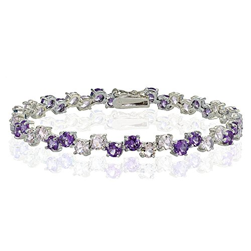 Sterling Silver 4mm African Amethyst and Amethyst Round (Sterling Silver African Amethyst Bracelet)