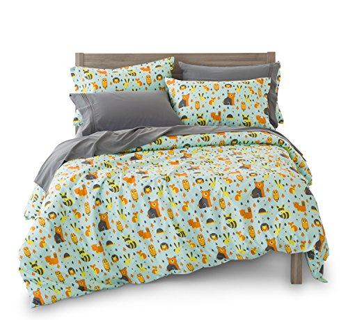 Woodland Comforter Set - Full/Queen Woodland Creatures Duvet Cover Set with 2 Pillowcases for Kids Bedding - Double Brushed Ultra Microfiber Luxury Set By Where The Polka Dots Roam (L 90in x W 92in) …