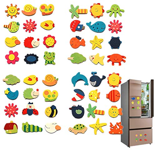 sJIPIIIk552 12Pcs Wooden Cartoon Sun Fish Fridge Magnet Stickers Education Kid Toy Art Decor Random Style 12pcs