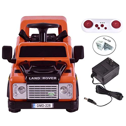 Eight24hours Land Rover Defender Kids Ride On Car 6V Electric RC Battery Powered Christmas - Orange + FREE E-Book