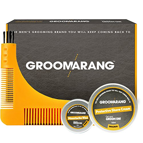 Groomarang Starter Collection Beard Comb Moustache Wax 15ml Shave Cream 100ml Gift Set