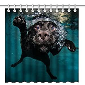 Wknoon 72 x 72 Inch Shower Curtain,Funny Black Labrador Retriever Dog Swimming with Expressive Face,Waterproof Polyester Fabric Decorative Bathroom Bath Curtains