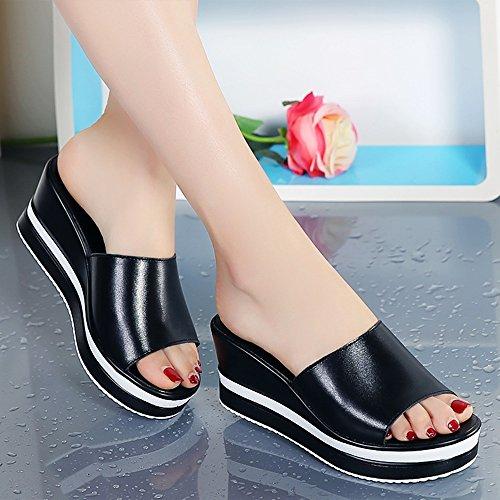 Sommer neue Sandalen elegante Dame Slope mit dicken Boden Plateauschuhe ( Farbe : 5 , größe : EU35/UK3/CN34 ) 3