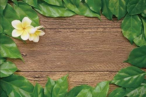 Green Leaves Yellow Flowers and Wooden Board Wedding Baby Photography Background Custom Photography Studio Photography Background
