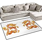 Dragon,Carpet,Twin Fire Dragon Zodiac Statues Asian Art Chinese Philosophy Themed Picture,Rug Kid Carpet,Vermilion Yellow,48''x60''