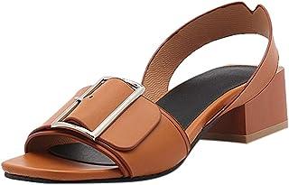 Chaussures ADESHOP Mode Été Femmes Sandales Talons Hauts Rome Rétro Wild Ladies Shoes Décoration Carrée Un Pied Chaussures Paresseux Confortable Antidérapant Les Loisirs