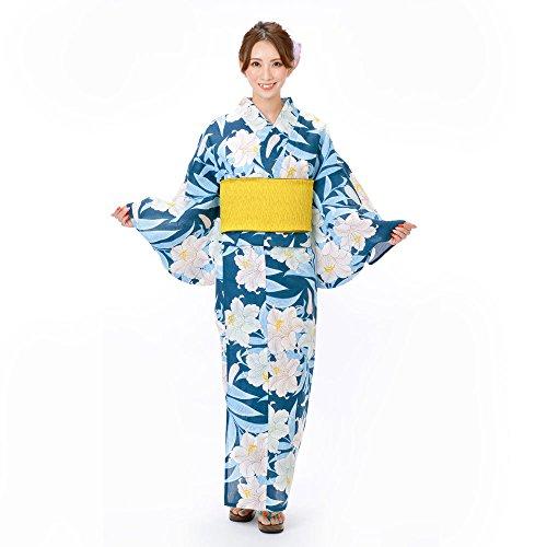 尾チップあたりそしてゆめ浴衣+そしてゆめ半巾帯+下駄 3点セット レディースゆかた 日本製