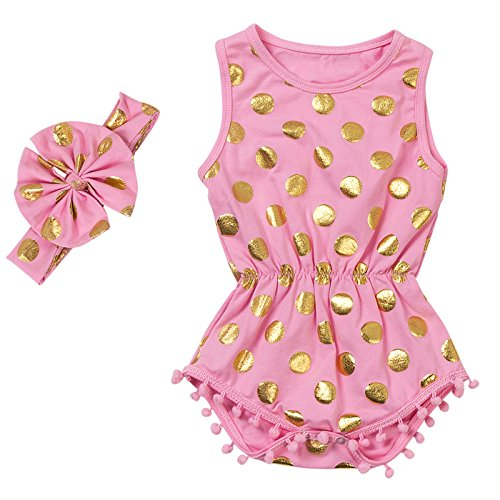 Messy Code Baby Romper Onesies Girls Clothes Gold Dot Jumpsuits Headband Outfit Sleeveless Boutique,Pink,Medium / 12-18Month