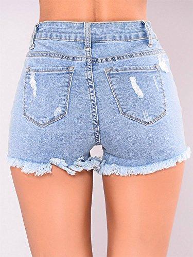 vita strappati Jeans skinny Blu con bassa Jeans bottoni donna skinny corti a Jeans Jeans con donna Jeans Vita Pantaloni da FuweiEncore estivi alta da buchi HUZgS1