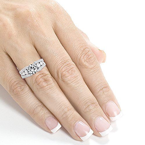 Vintage Style ronde Diamant Bague de Fiançailles 31/10ctw en or blanc 14K _ 7.0