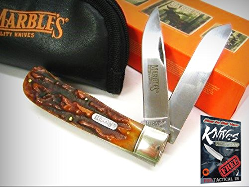 MARBLES Stag Bone JUMBO TRAPPER 2 Blade Folding Pocket Knife + POUCH Case! 001117 + free eBook by ProTactical'US ()
