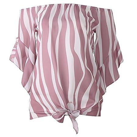 Lamdoo Blusa para mujer, diseño de rayas, manga 3/4, hombro, parte ...