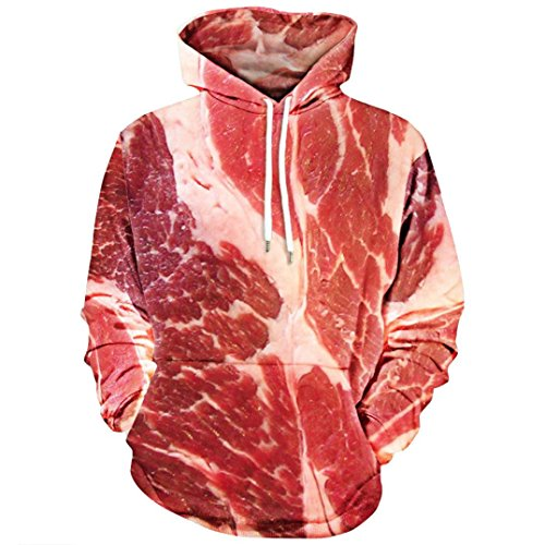 Witspace Unisex 3D Printed Blouse Raw Meat Pullover Long Sleeve Sweatshirt Hooded Tops (XL, - Open Macy