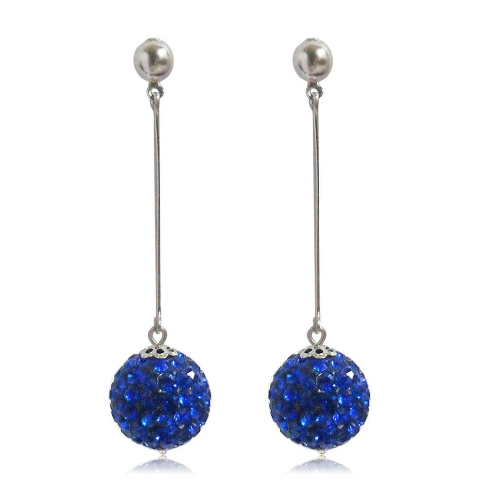 GiftJewelryShop 15MM Sterling Silver Plated Blue Disco Crystal Ball Dangle Earrings