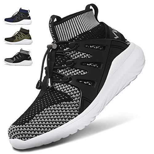 WETIKE Kids Shoes Boys Girls Sneakers High Top Lightweight Sports Shoes Slip On Running Walking School Casual Tennis Wrestling Trainer Shoes Soft Knit Mesh Black Size 1.5