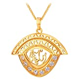 Islamic Religious Necklace 18K Gold Plated Link Chain Rhinestone Eye Shaped Allah Pendant Necklaces