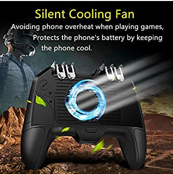 Mobile Game Controller 4 Trigger with Cooling Fan for PUBG//Call of Duty//Fotnite L1R1 L2R2 Gaming Grip Gamepad Mobile Controller Trigger for 4.7-6.5 iOS Android Phone 6 Finger Operation