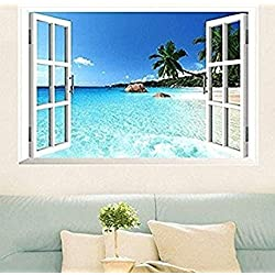 Large Removable Beach Sea 3D Window Decal WALL STICKER Home Decor Exotic Beach View Art Wallpaper Mural