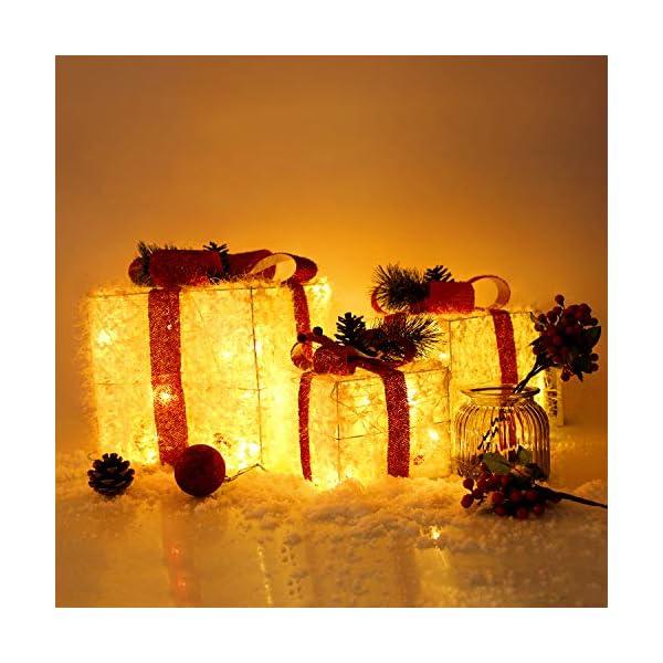 CCLIFE LED accendere Decorativa Natale Pacco Regalo Box Set dimmerabile, 3 Pezzi, Scatola Regalo LED, Illuminazione Decorativa, Colore:C: bianco + rosso, lana 2 spesavip