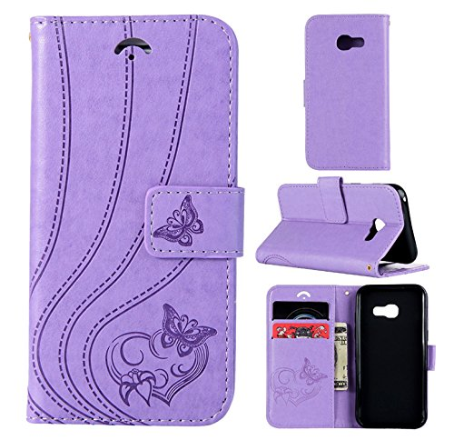 Silicone Fine A520 Case Antichoc Ultra Galaxy pour Motif Cuir Étui Papillon Samsung pour Hancda Case Coque PU Coque 2017 A5 Housse Coque 2017 Flip Galaxy Violet Back A5 A520 C Cover en Etui Samsung TPU PqgCAOw