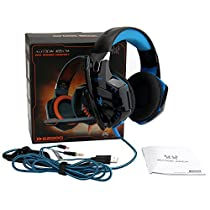 YIPBOWPT Gaming Headset Comfortable 3.5mm Stereo Over-ear Headphone Headband with LED Lighting for PC Computer Game With Noise Isolation & Volume Control Blue (Not Support PS4/XBOX360)