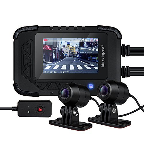 Blueskysea DV688 Motorcycle Dash Cam 1080p Dual Lens Motorcycle Recording Camera 2.35' LCD IP67 Waterproof Screen 130 Degree Angle Night Vision Latest Version