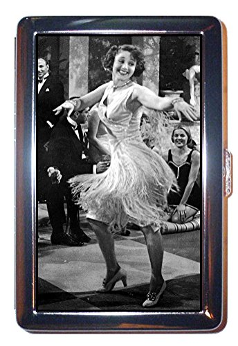 Flapper Girl 1920s Dancer Sexy Fun B&W Photo: Stainless Steel ID or Cigarettes Case (King Size or (Flapper Girls 1920)