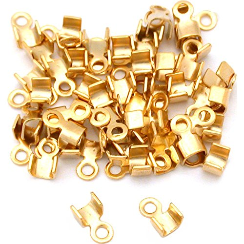 (50 Gold Plated Cord Ends Crimp Foldover For Leather)