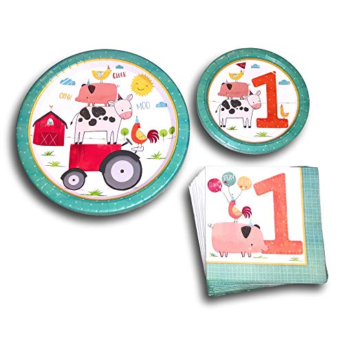 Happy First 1st Birthday Farm Animals Disposable Paper Plates and Napkins Party Pack Supplies Bundle - Tableware set includes Barnyard Birthday Dinner Plates - Farm Dessert Plates - Animal Napkins (Dinnerware Barnyard Animals)