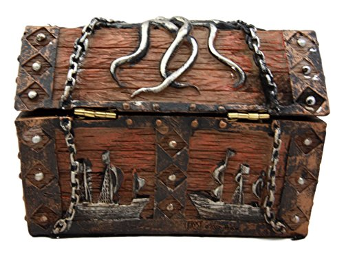 Atlantic Collectibles Caribbean Kraken Octopus Pirate Haunted Chained Skull Treasure Chest Box Jewelry Box Figurine 5''L by Ebros Gift (Image #2)