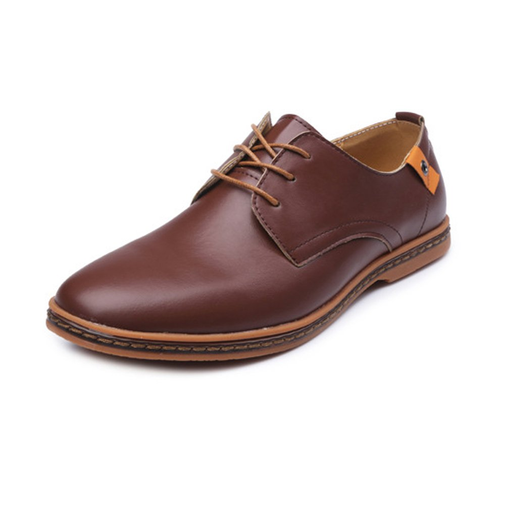Brown Z.L.F Men's Oxford shoes Large Size Loafers PU Leather Vamp Lace Up Business Oxfords Stud Decor Formal shoes