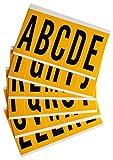 Brady 1560-LTR KIT Vinyl A Thru Z Letter Label, 5'' H x 1.75'' W, Black/Yellow