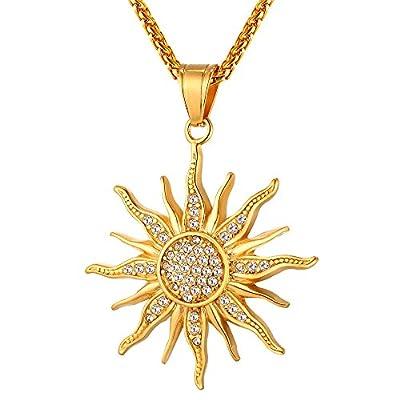 U7 Brand 2017 Big Flower Charm Necklace Rhinestone Crystal 18K Gold Plated Chain & Big Sun Flower Pendant for Women/Men