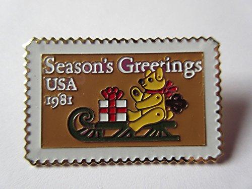- 1981 Bear On Sled Seasons Greetings 1940 20c STAMP pin pinback NEW