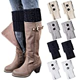 Loritta 4 Pairs Women Winter Crochet Knitted Boot Cuffs Toppers Short Leg Warmer