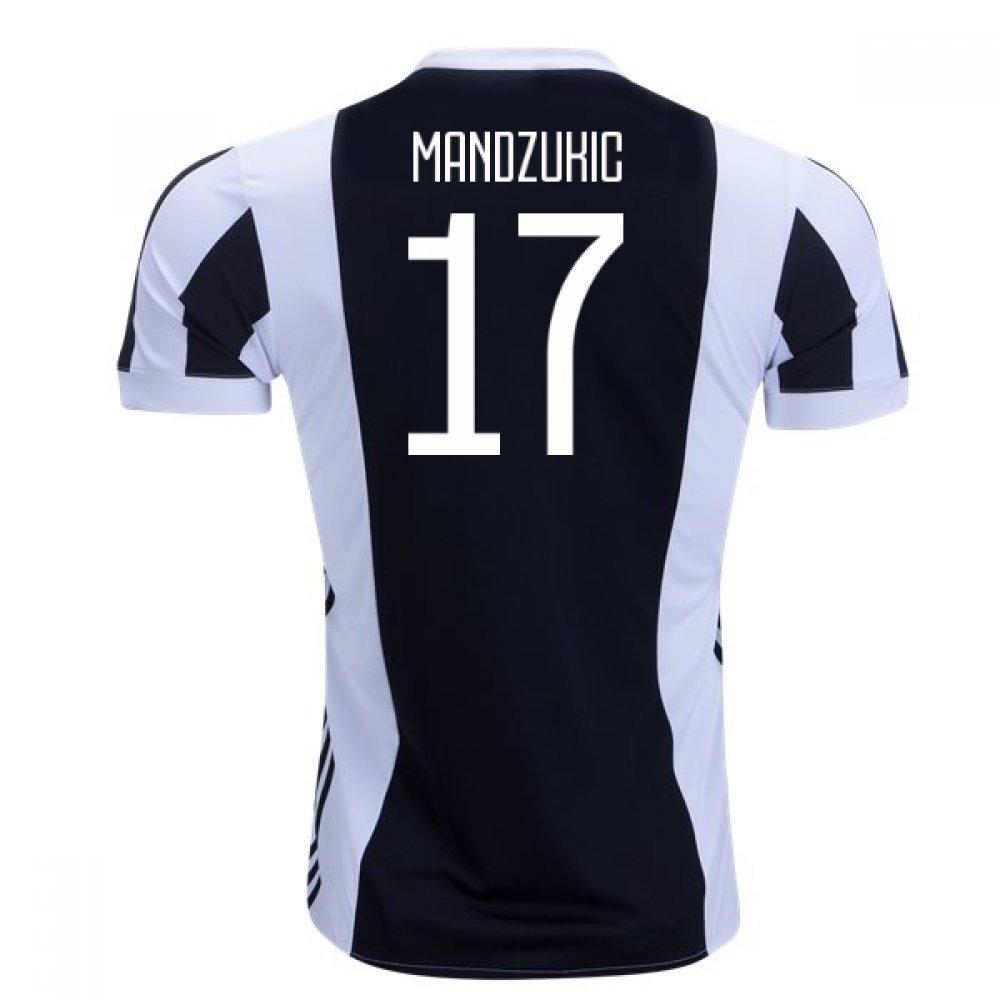2017-18 Juventus Home Football Soccer T-Shirt Trikot (Mario Mandzukic 17) - Kids