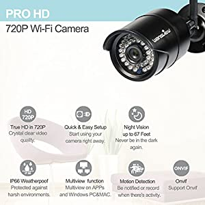 Wansview Outdoor 720P WiFi Wireless IP Security Bullet Camera ,IP66 Weatherproof, 720P W3-Black