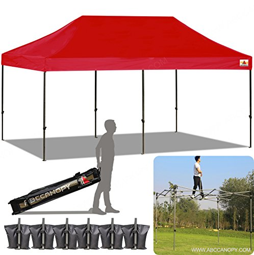 ABCCANOPY 10x20 Straight Leg Pop-up Canopy Commercial Grade Instant Canopy Black Roller Bag Bonus 6x Weight Bag (red)